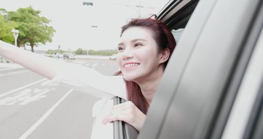 woman enjoying the journey Footage