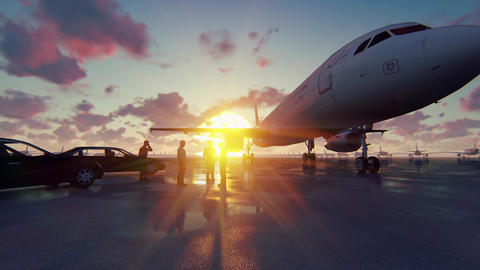 Businessmen talking in front of his aircraft before departure. The concept of GIF