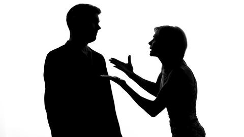Boyfriend and girlfriend shouting each other, family quarrel, relations conflict Live Action