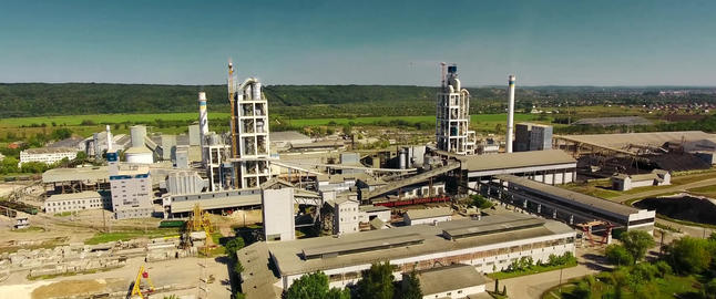 Panorama of the cement plant. Large cement plant Live Action