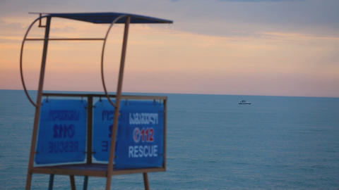 Empty lifeguard tower on beach, safety on water, low season at seaside resort Footage