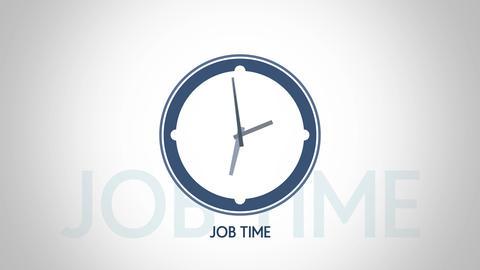 Job time blue clock symbol animation Animation