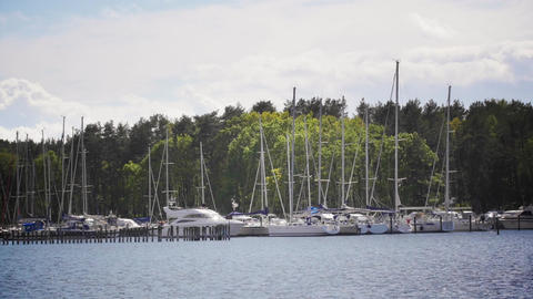 Cinemagraph Of Marina In Sweden - Boats And Ocean - Motion Video Background stock footage