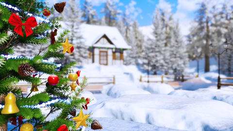 Outdoor Christmas tree at winter day Close up CG動画素材