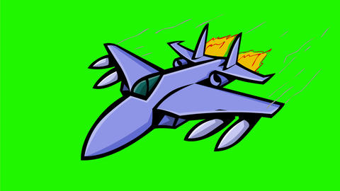 American Jet Fighter Flying 2D Animation Animation