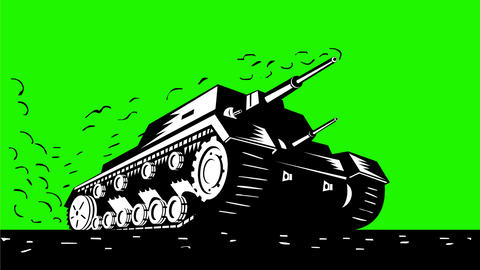 World War Two Battle Tank Speeding 2D Animation Animation