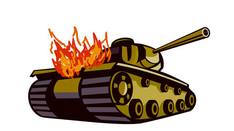 World War Two Battle Tank on Fire 2D Animation Animation