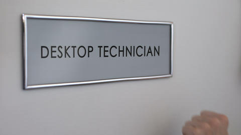 Desktop technician office, hand knocking closeup, computer maintenance, repair Footage