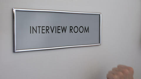 Interview room door, hand knocking, business recruitment, hiring candidate Footage