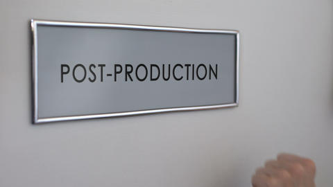 Post-production office door, hand knocking closeup, television industry, editing Footage