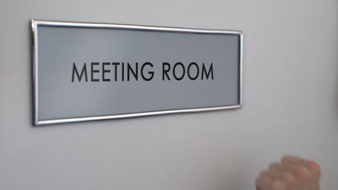 Meeting room, hand knocking closeup, business conference, project discussion Footage