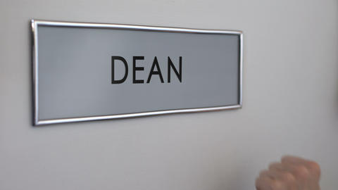 Dean office door, hand knocking, chief executive officer, school director Footage