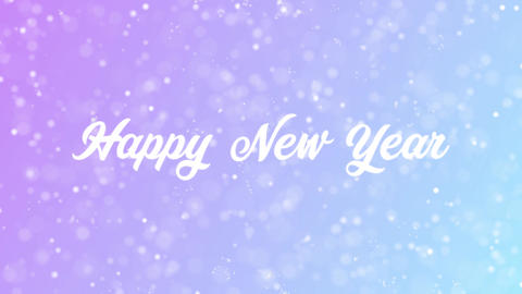 Happy New Year Greeting card text with beautiful snow and stars particles Animation
