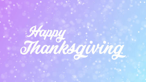 Happy Thanksgiving Greeting card text with beautiful snow and stars particles Animation