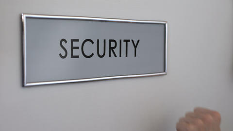 Security office door, hand knocking closeup, surveillance system, identification Live Action