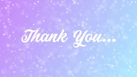 Thank You Greeting card text with beautiful snow and stars particles Animation