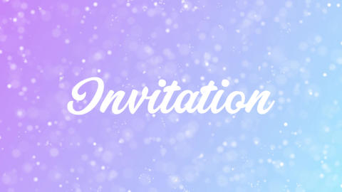 Invitation Greeting card text with beautiful snow and stars particles Animation