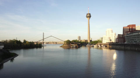 Rheinturm Rhine Tower, Dusseldorf, Germany 영상물