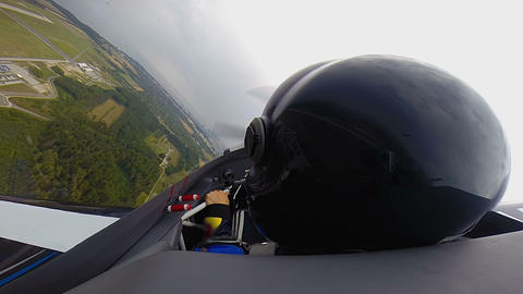 POV of co-pilot sitting in jet plane and looking around, extreme sport, aircraft Live Action