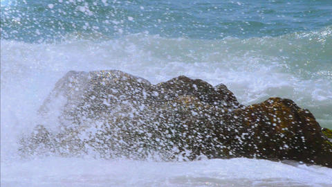 Big Waves Hit A Boulder In The Sea Footage