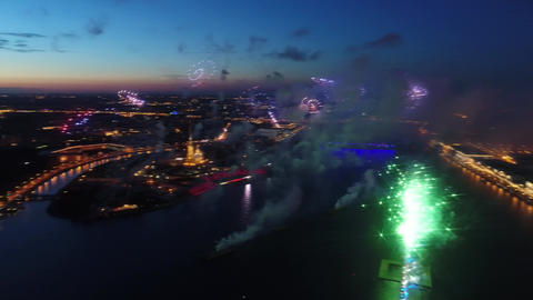 Salute Scarlet Sails. The festive salute is grandiose. Fireworks pyrotechnics Footage
