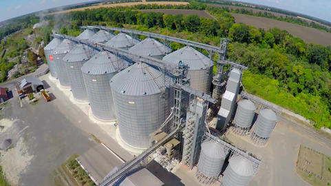 Flight of the grain terminal from the drone. The grain plant for storage and Footage