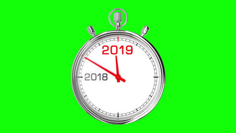 New Year 2019 Stopwatch (Green Screen) CG動画素材