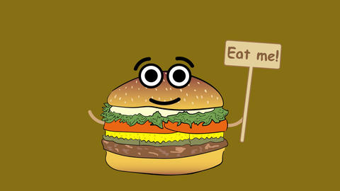 Cheeseburger on brown color Animation