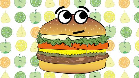 Cheeseburger and fruits Animation