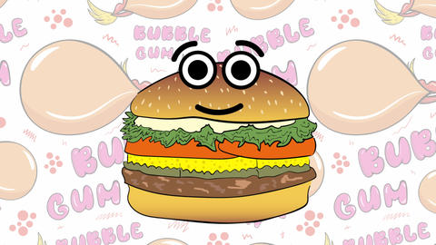 Cute burger and bubble gums Animation
