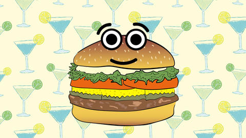 Cute cheeseburger and coctails Animation