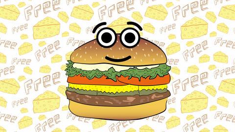 Cute cheeseburger and cheese Animation