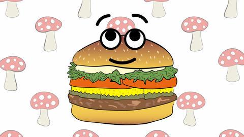 Cute cheeseburger and fly agarics Animation