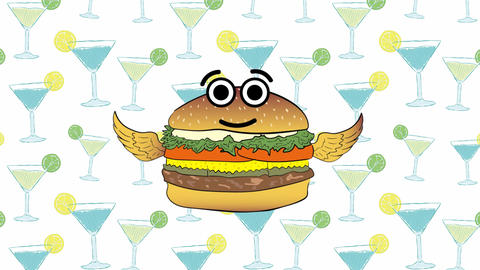 The flying cheeseburger and coctails Animation