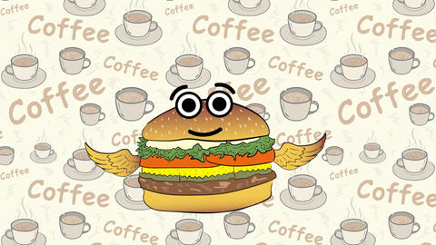 The flying cheeseburger and coffee Animation
