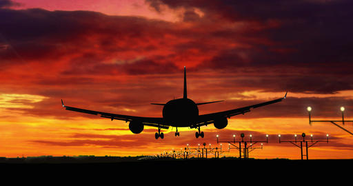 Airplane silhouette landing on red sky background Animación