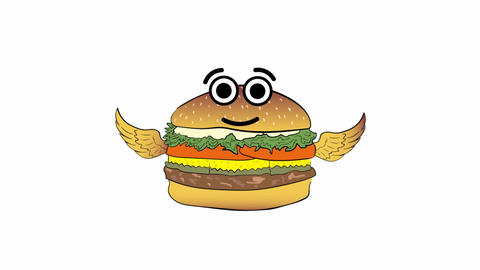 The flying cheeseburger on white Animation