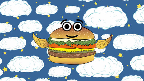 The flying cheeseburger cloud and stars Animation