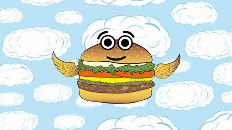 The flying cheeseburger up and cloud Animación
