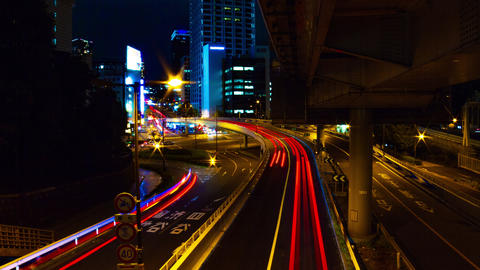Night time lapse at Akasaka intersection wide shot slow shutter Live Action
