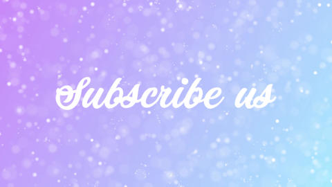 Subscribe us Greeting card text with beautiful snow and stars particles Animation