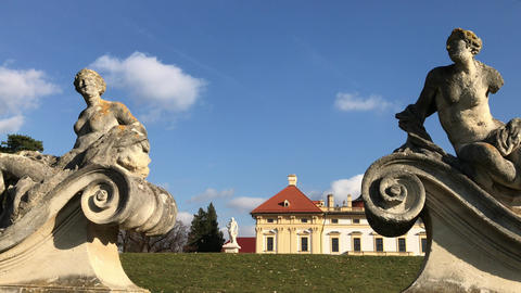 Slavkov castle and outdoor sculptures in autumn back garden 영상물