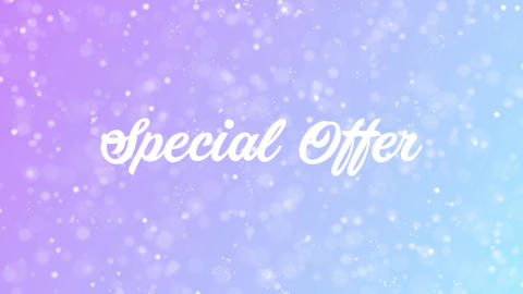 Special Offer Greeting card text with beautiful snow and stars particles Animation