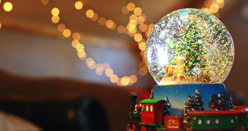 Crystal ball toy during Christmas at home 4k Live Action