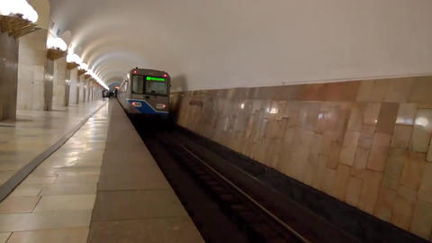 Close-up of departure train from the Moscow metro station Aviamotornaya Footage