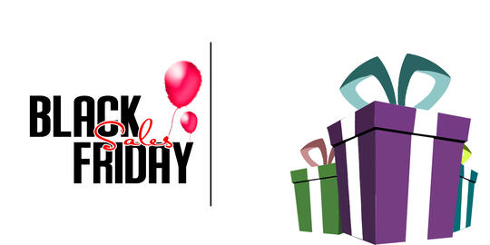 Black Friday Sale Banners. Flying Glossy Balloons on White Background. gift box. フォト