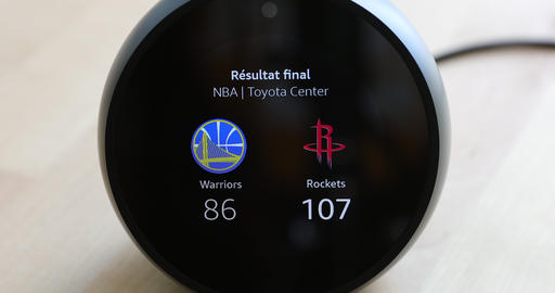 Amazon Echo Spot Showing Sport Team Results From NBA Last Game Live Action