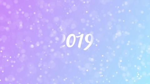2019 Greeting card text with beautiful snow and stars…, Stock Animation