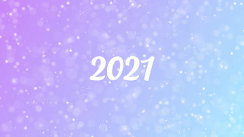 2021 Greeting card text with beautiful snow and stars particles Animation