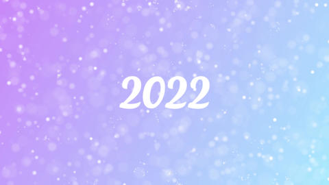 2022 Greeting card text with beautiful snow and stars particles Animation
